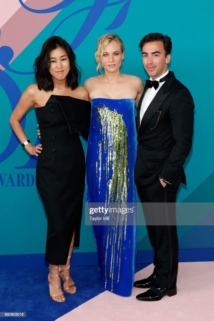 Laura Kim, Diane Kruger, and Fernando Garcia attend the 2017 CFDA Fashion Awards at Hammerstein Ballroom on June 5, 2017 in New York City.