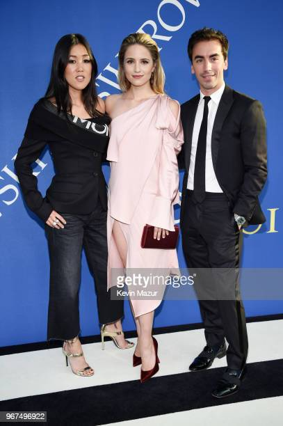 Laura Kim Dianna Agron and Fernando Garcia attend the 2018 CFDA Fashion Awards at Brooklyn Museum on June 4 2018 in New York City