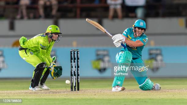 Laura Kimmince of the Heat bats during the Women's Big Bash League WBBL Semi Final match between the Brisbane Heat and the Sydney Thunder at North...