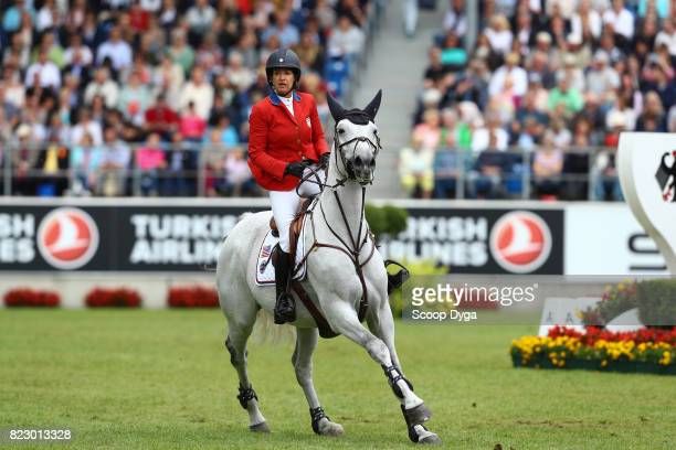 Laura KRAUT riding ZEREMONIE during the Rolex Grand Prix part of the Rolex Grand Slam of Show Jumping of the World Equestrian Festival on July 23...