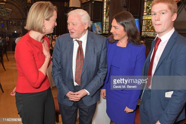 Laura Kuenssberg, Sir David Attenborough, Katya Adler and guest attend the London Press Club Awards 2019 at Stationers' Hall on April 30, 2019 in...