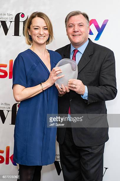 Laura Kuenssberg winner of the News and Factual Award with Ed Balls at the Sky Women In Film & TV Awards at London Hilton on December 2, 2016 in...