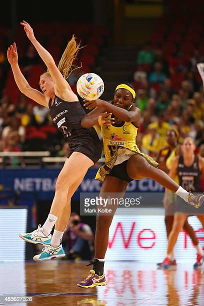 Laura Langman of New Zealand and Vangelee Williams of Jamaica during the 2015 Netball World Cup Qualification round match between New Zealand and...