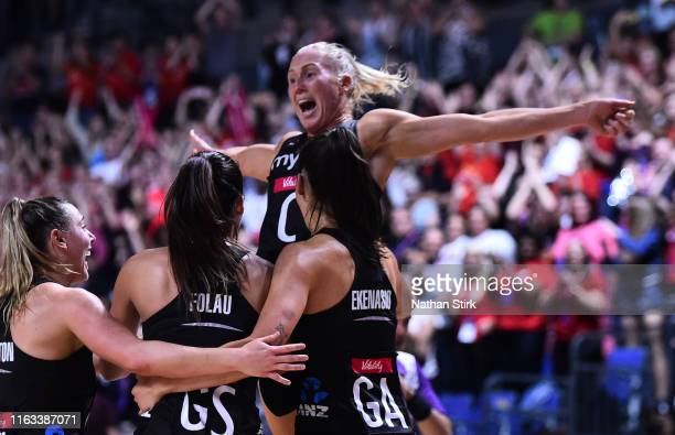 Laura Langmanof New Zealand celebrates after the Vitality Netball World Cup Final match between Australia and New Zealand at M&S Bank Arena on July...