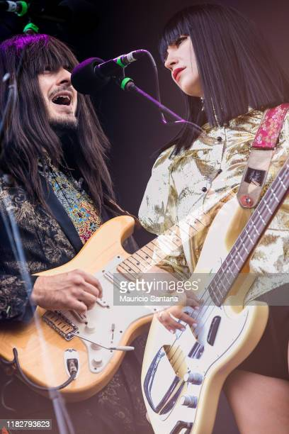 Laura Lee and Mark Speer of Khruangbin performs live at Popload Festival on stage at Memorial da America Latina on November 15, 2019 in Sao Paulo,...