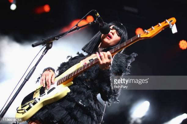 Laura Lee of Khruangbin performs at Gobi Tent during the 2019 Coachella Valley Music And Arts Festival on April 12, 2019 in Indio, California.