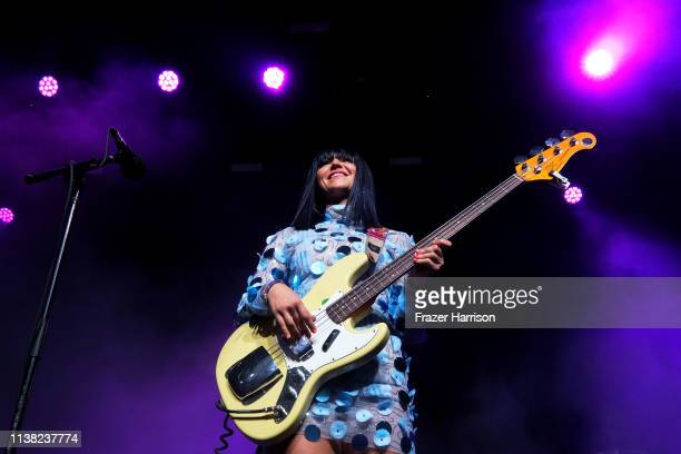 Laura Lee of Khruangbin performs at Gobi Tent during the 2019 Coachella Valley Music And Arts Festival on April 19 2019 in Indio California