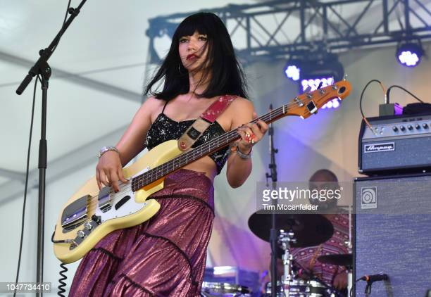 Laura Lee of Khruangbin performs during the 2018 Austin City Limits Music Festival at Zilker Park on October 7 2018 in Austin Texas