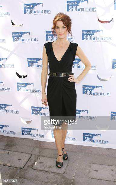 Laura Leighton attends the national 'Shop 'Til It Stops' launch event during domestic violence awareness month held at the 3rd Street Promenade on...