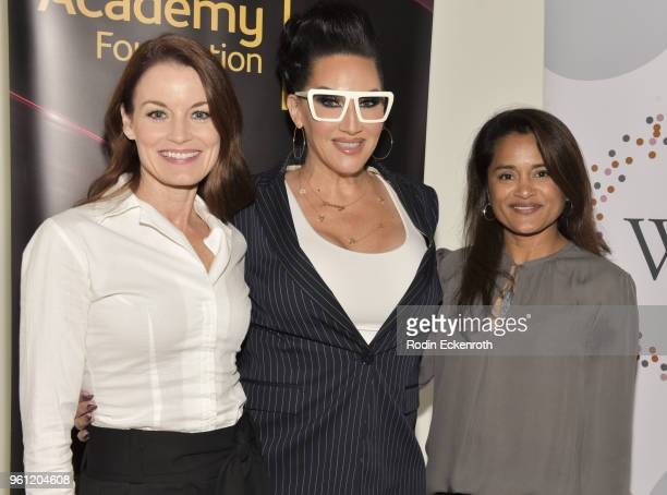 Laura LeightonSavant Michelle Visage and Veena Sud pose for portrait at the Women in Entertainment and The Television Academy Foundation's Inaugural...