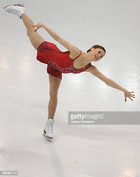 Laura Lepisto of Finland competes during the Ladies Free Skating at the 2010 ISU World Figure Skating Championships on March 27 2010 in Turin Italy