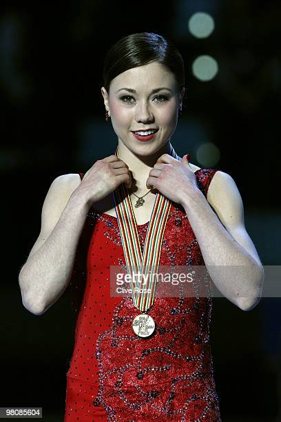 Laura Lepisto of Finland poses with her Bronze medal after the Ladies Free Skate during the 2010 ISU World Figure Skating Championships on March 27...