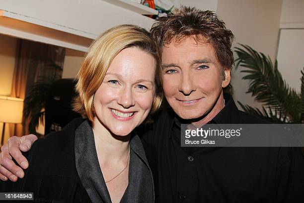 Laura Linney and Barry Manilow pose backstage at 'Manilow on Broadway' at The St James Theater on February 13 2013 in New York City