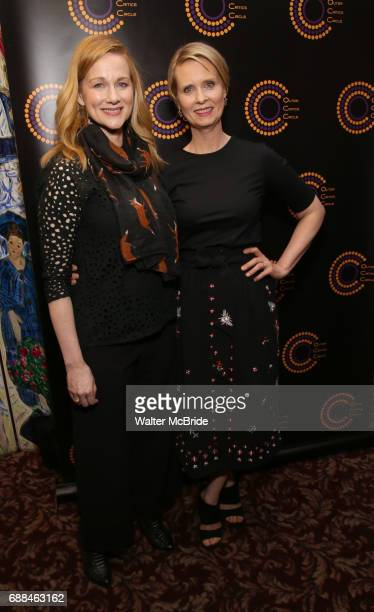 Laura Linney and Cynthia Nixon attend the 67th Annual Outer Critics Circle Theatre Awards at Sardi's on May 25 2017 in New York City