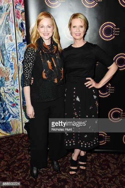 Laura Linney and Cynthia Nixon attend the Outer Critics Circle 20162017 Awards at Sardi's on May 25 2017 in New York City
