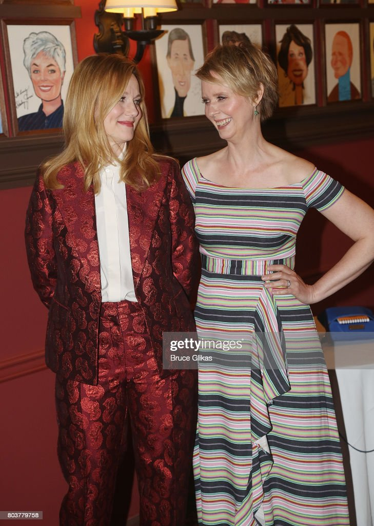 Laura Linney and Cynthia Nixon get honored for their performances in 'Lillian Hellman's The Little Foxes' on Broadway with caricature portraits at Sardis on June 29, 2017 in New York City.