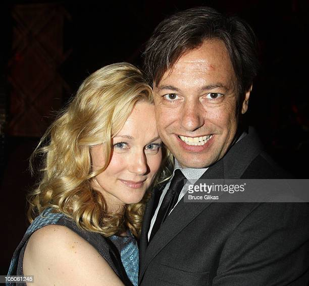Laura Linney and husband Marc Schauer pose at the Opening Night after party for Time Stands Still at Pio Pio on October 7 2010 in New York City