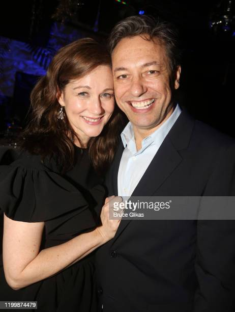 Laura Linney and husband Marc Schauer pose at the opening night after party for the new play My Name Is Lucy Barton on Broadway at The Copacabana on...