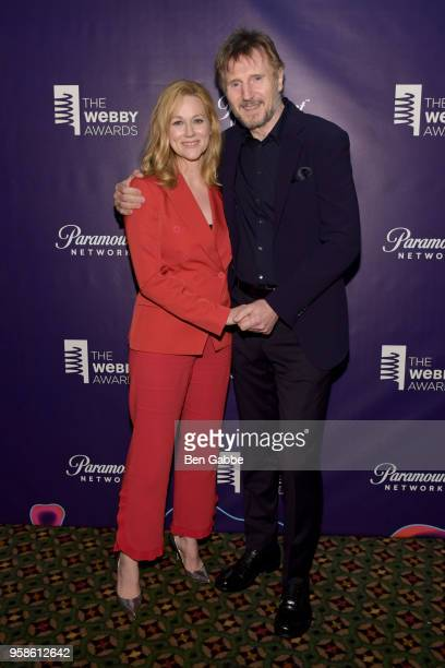 Laura Linney and Liam Nesson pose backstage at The 22nd Annual Webby Awards at Cipriani Wall Street on May 14 2018 in New York City