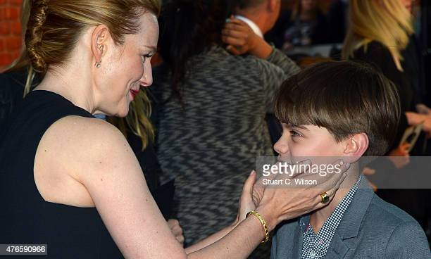 Laura Linney and Milo Parker attend the UK Premiere of Mr Holmes at ODEON Kensington on June 10 2015 in London England