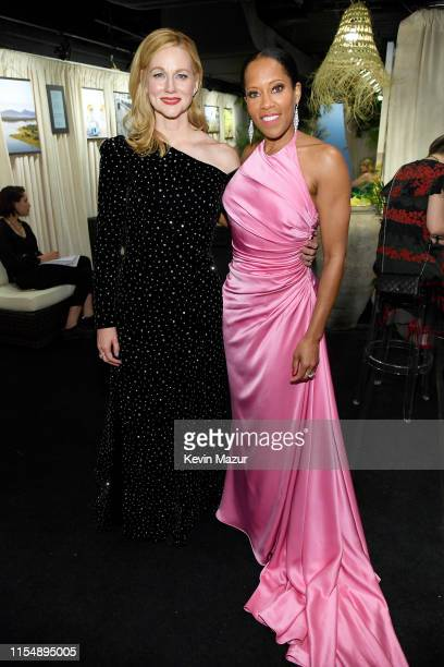 Laura Linney and Regina King attends the 73rd Annual Tony Awards at Radio City Music Hall on June 09, 2019 in New York City.