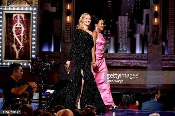 Laura Linney and Regina King present an award onstage during the 2019 Tony Awards at Radio City Music Hall on June 9 2019 in New York City