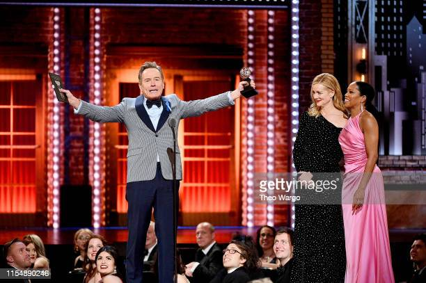 Laura Linney and Regina King present Bryan Cranston with the Best Performance by an Actor in a Leading Role in a Play for Network onstage during the...