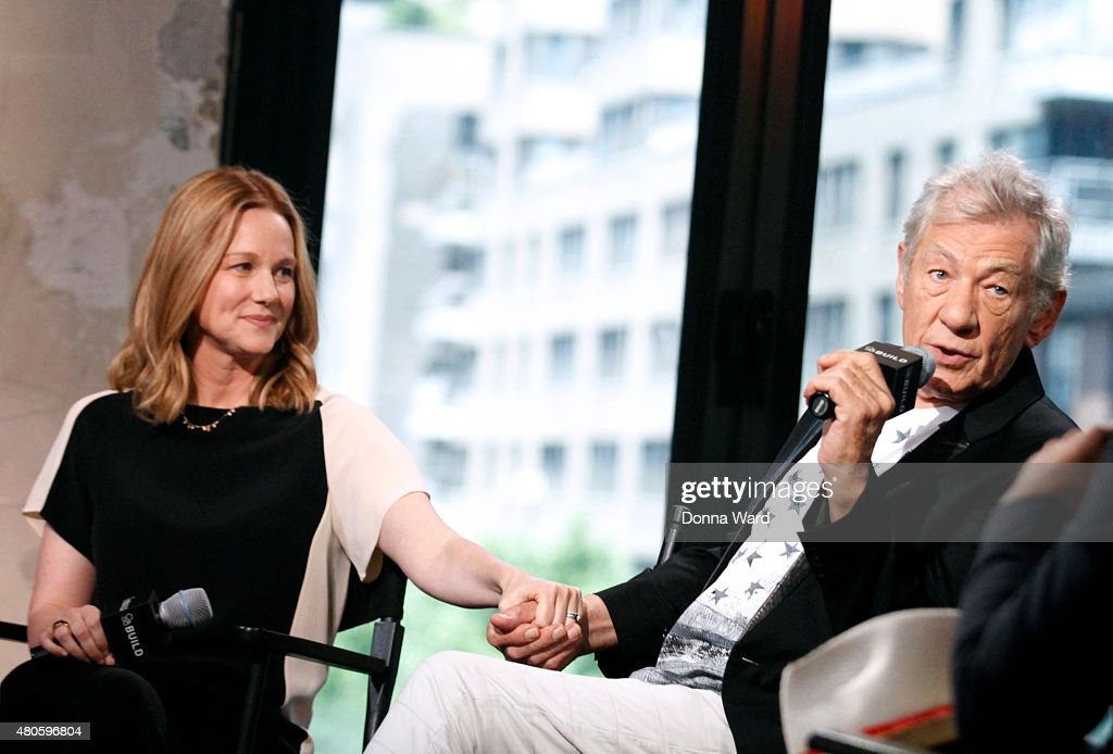Laura Linney and Sir Ian McKellan discusses 'Mr Holmes' during the AOL Build Series at AOL Studios In New York on July 13, 2015 in New York City.