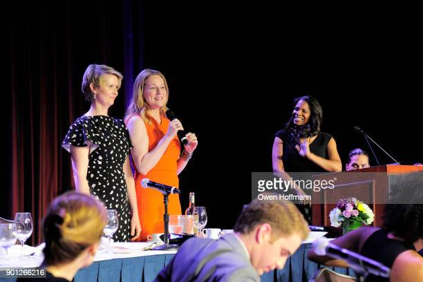 Laura Linney Cynthia Nixon and Audra McDonald attend 83rd Annual Drama League Awards at Marriott Marquis on May 19 2017 in New York City