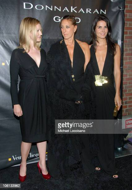 Laura Linney Donna Karan and Angie Harmon during Donna Karan Gold Fragrance Collection Launch at Donna Karan Flagship on Madison in New York City New...