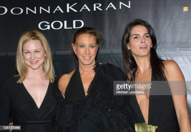 "Laura Linney, Donna Karan and Angie Harmon during Donna Karan ""Gold"" Fragrance Collection Launch at Donna Karan Flagship on Madison in New York City,..."