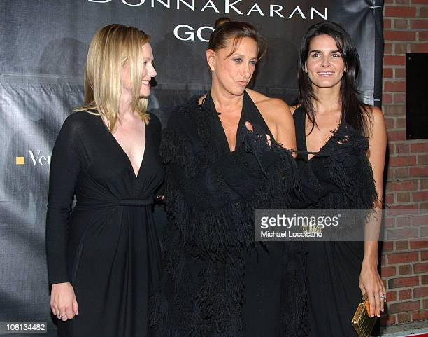 Laura Linney Donna Karan and Angie Harmon during Donna Karan 'Gold' Fragrance Collection Launch at Donna Karan Flagship on Madison in New York City...