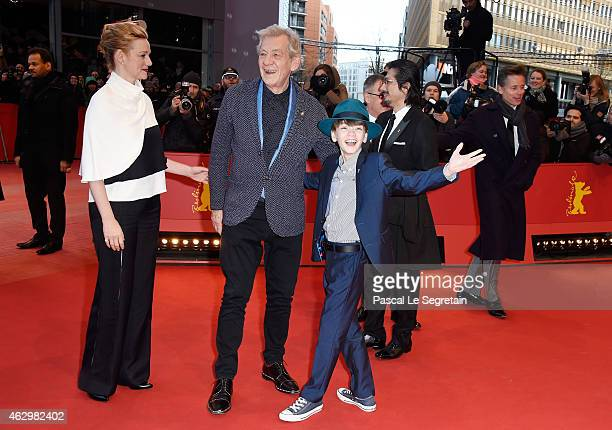 Laura Linney Ian McKellen and Milo Parker attend the 'Mr Holmes' premiere during the 65th Berlinale International Film Festival at Berlinale Palace...
