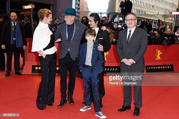 Laura Linney Ian McKellen Milo Parker Hiroyuki Sanada and Bill Condon attend the 'Mr Holmes' premiere during the 65th Berlinale International Film...