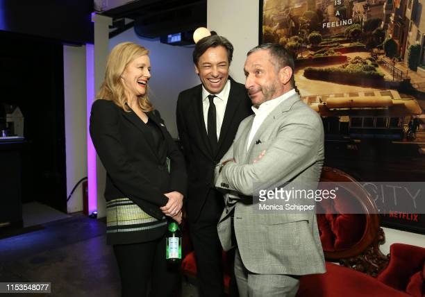 Laura Linney Marc Schauer and Alan Poul attend Netflix's Tales of the City New York Premiere at The Metrograph on June 03 2019 in New York City