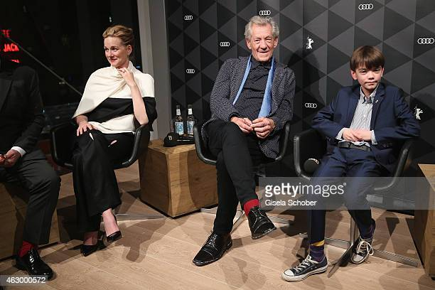 Laura Linney Sir Ian McKellen and Milo Parker attend a QA for the film 'Mr Holmes' during the 65th Berlinale International Film Festival at the AUDI...