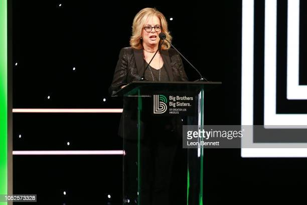 Laura Lizer speaks to the crowd during Big Brothers Big Sisters Of Greater Los Angeles Big Bash Gala Inside at The Beverly Hilton Hotel on October 19...