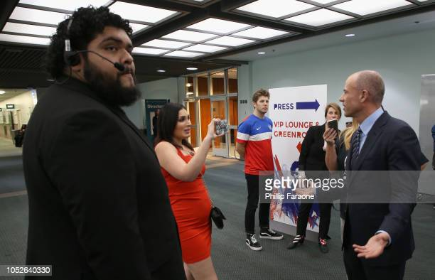 Laura Loomer and Michael Avenatti attend Politicon 2018 at Los Angeles Convention Center on October 20 2018 in Los Angeles California