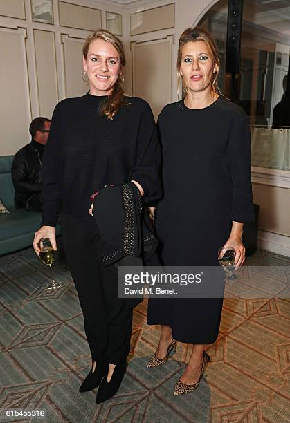 Laura Lopes and Sara Parker Bowles attend the launch of Fortnum Mason The Cook Book by Tom Parker Bowles at Fortnum Mason on October 18 2016 in...