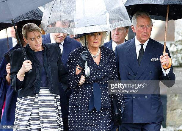 Laura Lopes Camilla Duchess of Cornwall and Prince Charles Prince of Wales attend the funeral of Mark Shand at Holy Trinity Church Stourpaine on May...