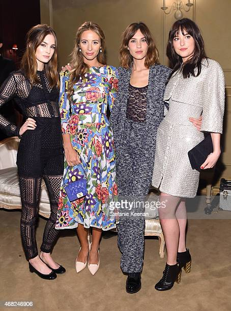 Laura Love, Harley Viera-Newton, Alexa Chung and Dakota Johnson attend the CHANEL Paris-Salzburg 2014/15 Metiers d'Art Collection in New York City at...