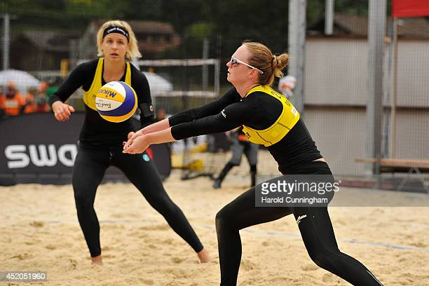 Laura Ludwig and Julia Sude of Germany in action during the women main draw match LudwigSude v BonnerovaHermannova as part of the fourth day of the...