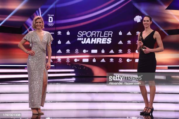 "Laura Ludwig and Kira Walkenhorst are awarded as ""Team Sports Legend of the Decade"" during the ""Sportler des Jahres"" Gala at Kurhaus Baden-Baden on..."