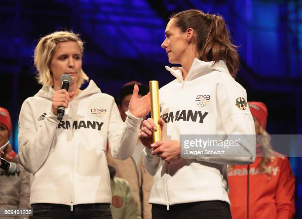 Laura Ludwig and Kira Walkenhorst attend the presentation of the outfit for German athletes competing in the upcoming Olympic Games in South Korea...
