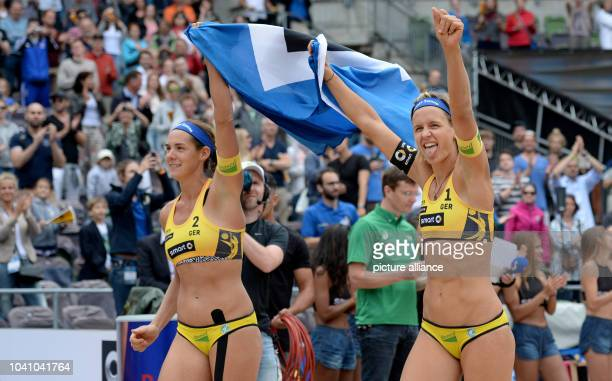 Laura Ludwig and Kira Walkenhorst from Germany celebrating their victory in the finale against Bednarczuk and Sexas from Brasil at the...