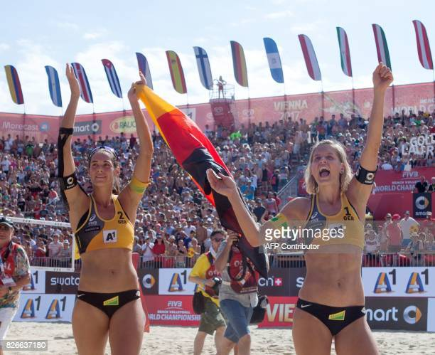 Laura Ludwig and Kira Walkenhorst of Germany celebrarte after winning the final match against United States at the Beach Volleyball World...