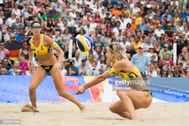 Laura Ludwig and Kira Walkenhorst of Germany in action during Day 4 of the Swatch Beach Volleyball FIVB World Tour Finals Hamburg 2017 on August 26...