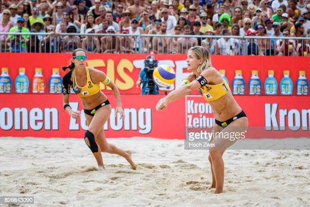 Laura Ludwig and Kira Walkenhorst of Germany in action during Day 9 of the FIVB Beach Volleyball World Championships 2017 on August 5 2017 in Vienna...