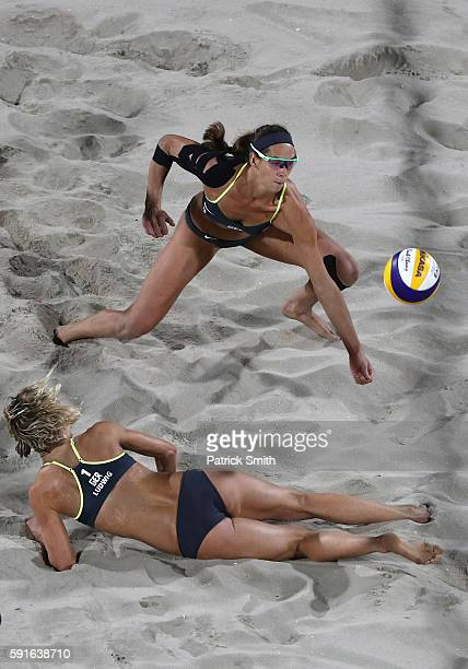 Laura Ludwig and Kira Walkenhorst of Germany in action during the Beach Volleyball Women's Gold medal match against Agatha Bednarczuk Rippel of...