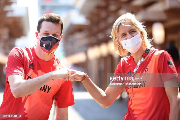 Laura Ludwig and Patrick Hausding of Team Germany arrives at the Olympic Village after have been announced as flag bearers for team Germany for the...